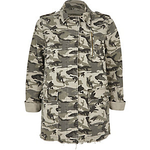 Khaki green camo army jacket