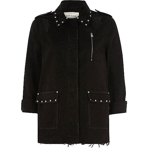 Black distressed studded army jacket