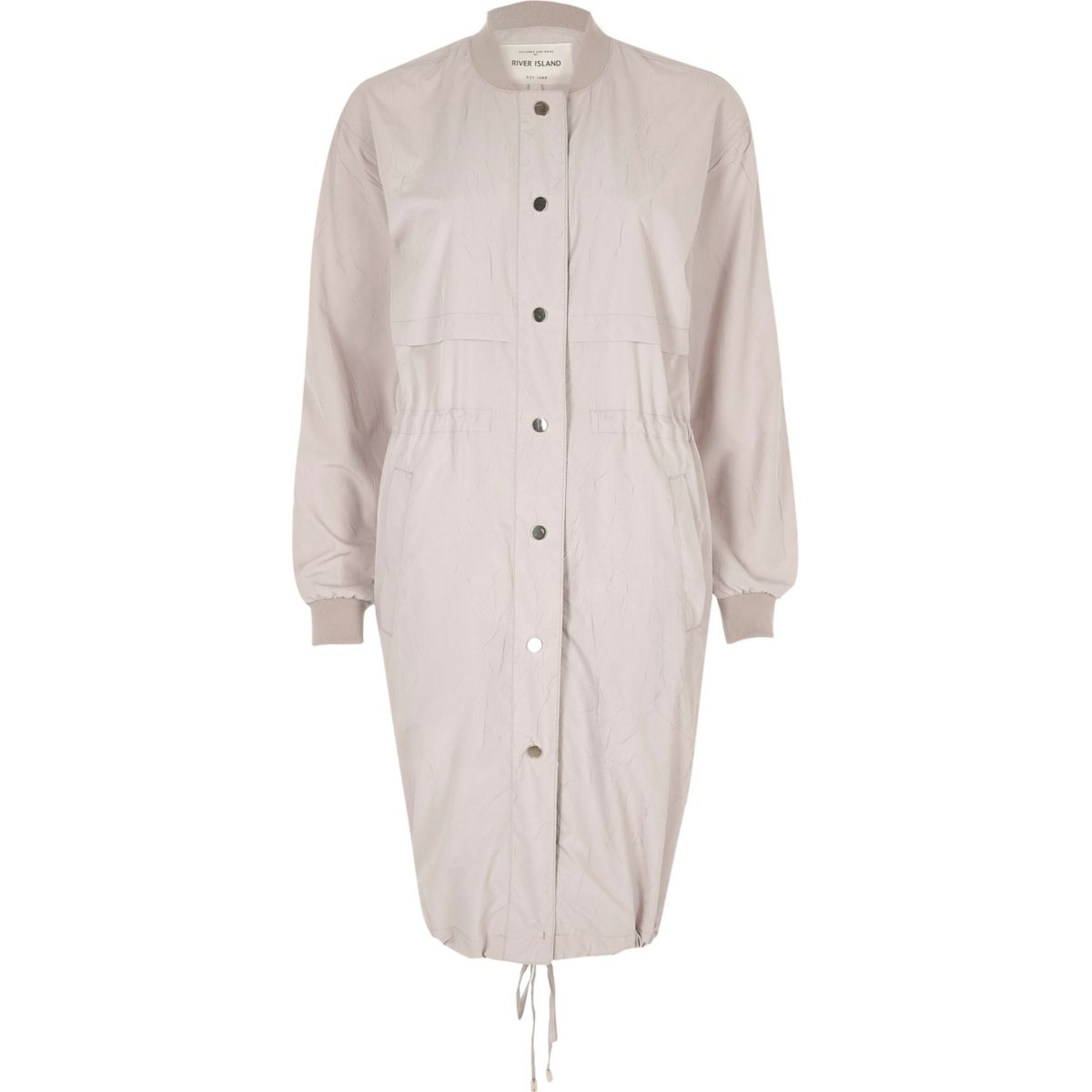 Grey longline bomber coat