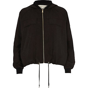 Black hooded drawstring hem jacket
