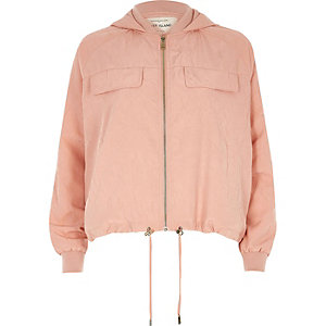 Light pink hooded drawstring hem jacket