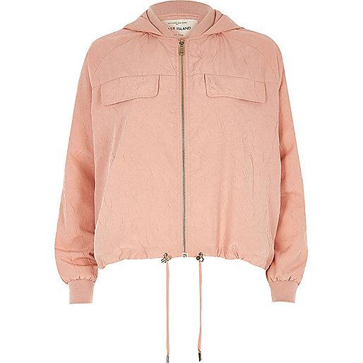 Light pink hooded drawstring hem jacket