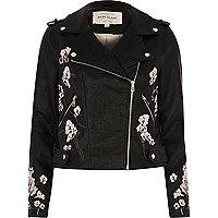 Black faux leather floral biker jacket