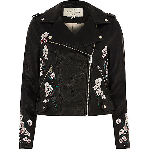 Black faux leather floral biker jacket