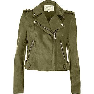 Khaki green suede look biker jacket