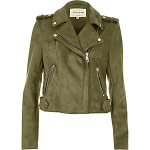 Khaki green suede look biker jacket