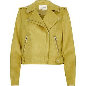 Yellow suede look biker jacket
