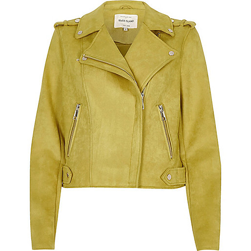 Yellow suede look biker jacket