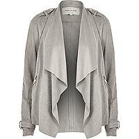 Grey faux suede waterfall biker jacket
