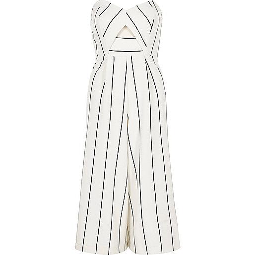 White stripe bandeau culotte jumpsuit