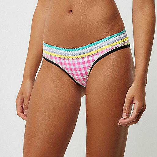 Pink gingham saddle stitch bikini bottoms