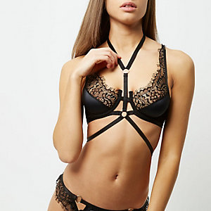 Black lace choker bra