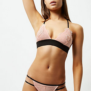 Pink lace heart applique bra