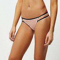Light pink lace applique thong