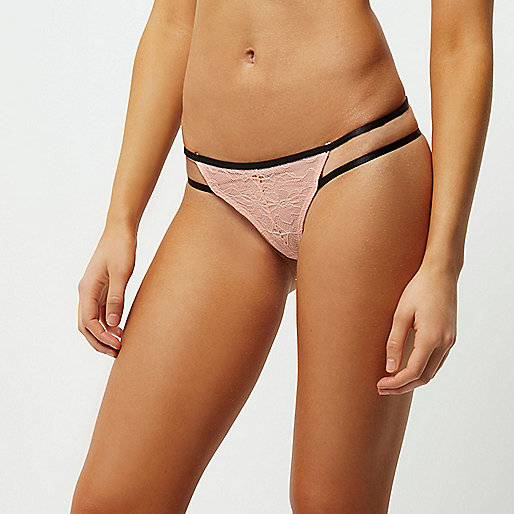 Light pink lace applique thong