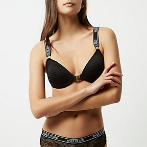 Black RI branded sporty bra