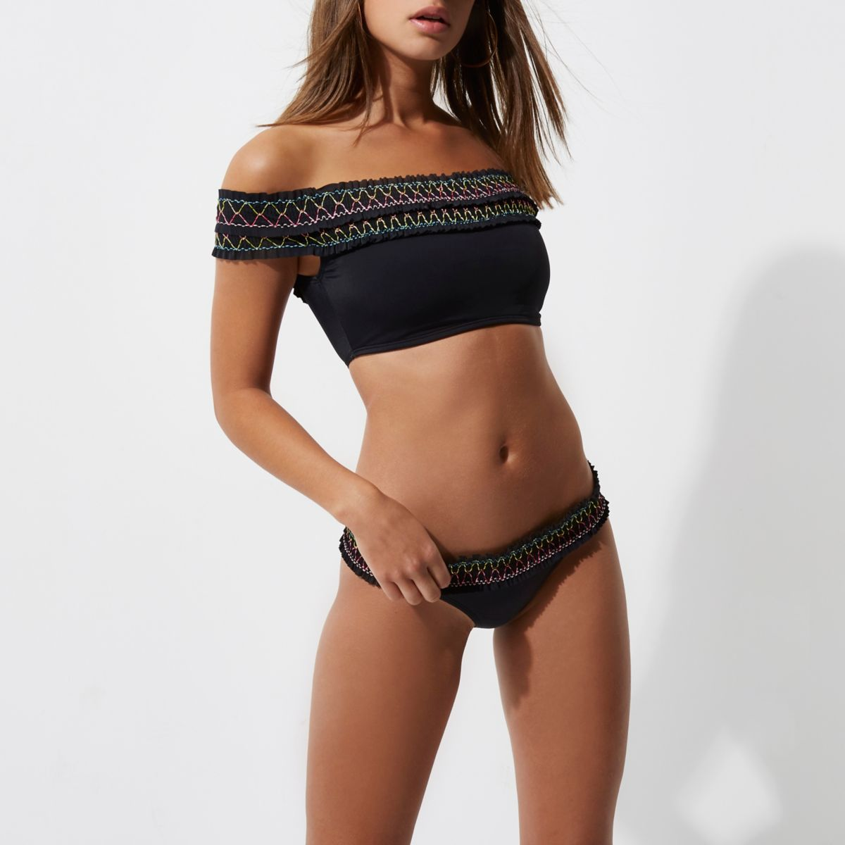 Black shirred bikini bottoms