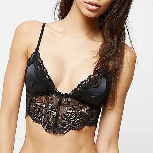 Black satin lace longline bra