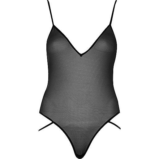 Black plunge mesh bodysuit