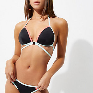 Black contrast strappy triangle bikini top