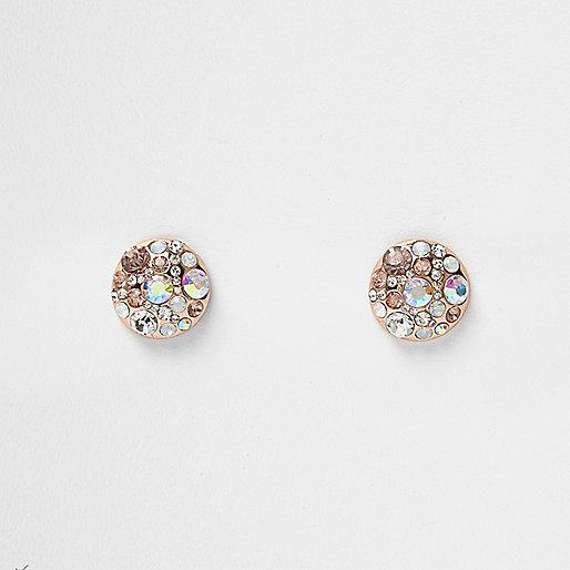 Clous d'oreilles à pierres doré rose