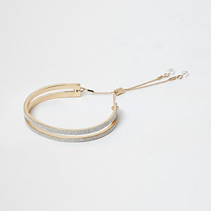 Gold tone glitter lariat bracelet