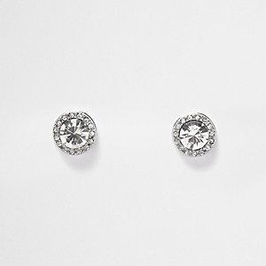 Silver tone crystal embellished stud earrings