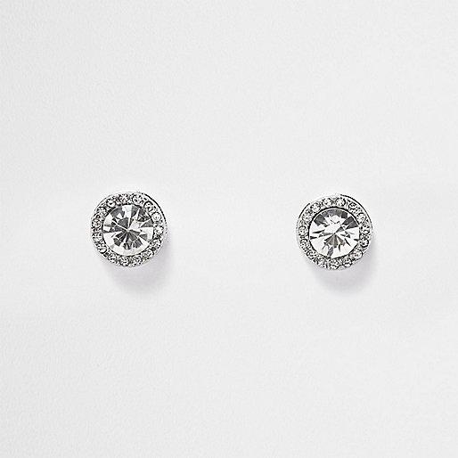 Clous d'oreilles argentés ornés de cristaux