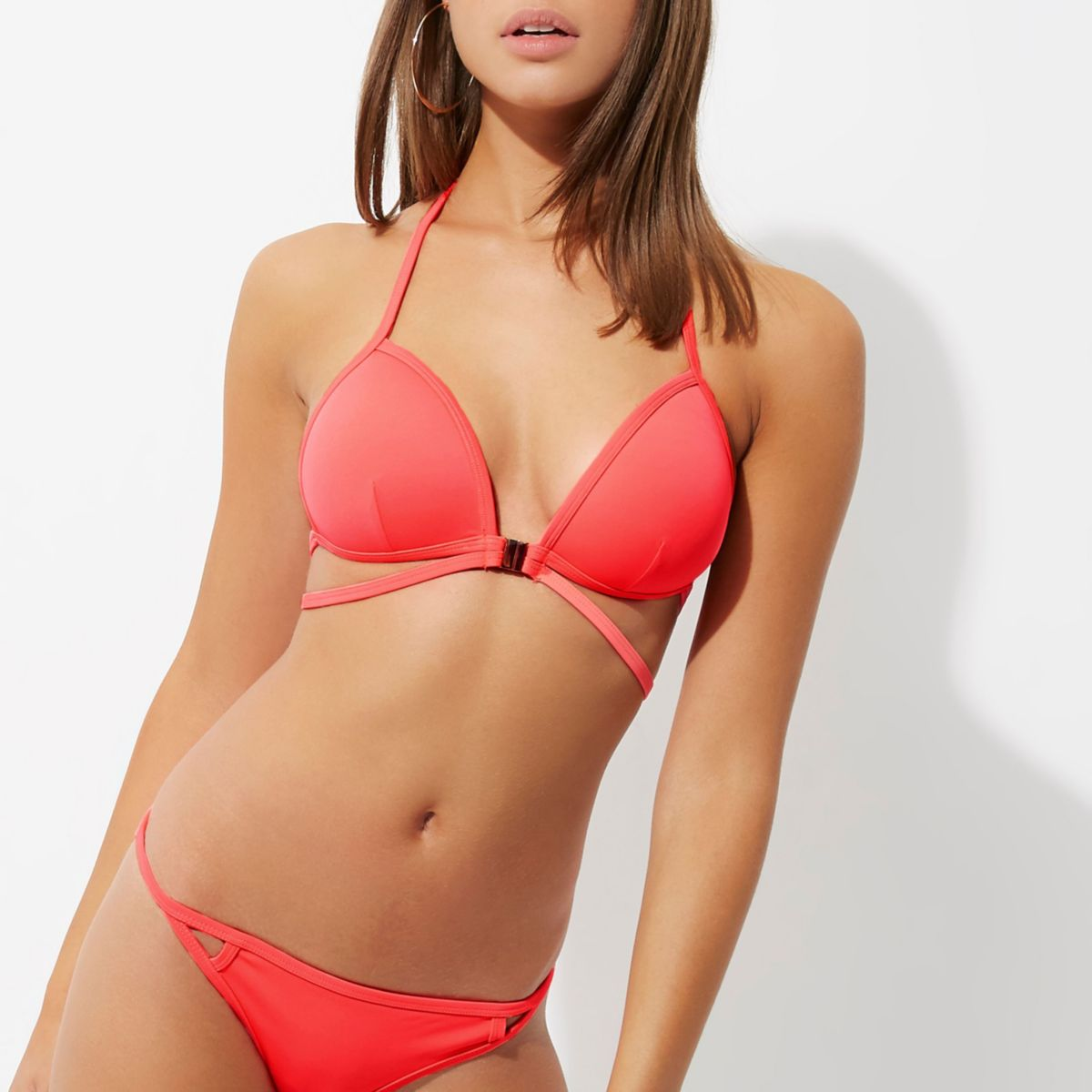 Pink strappy triangle bikini top