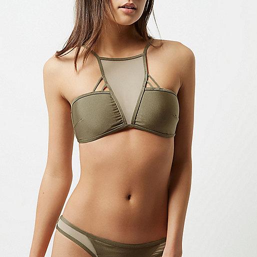 Khaki green mesh insert strappy bikini top