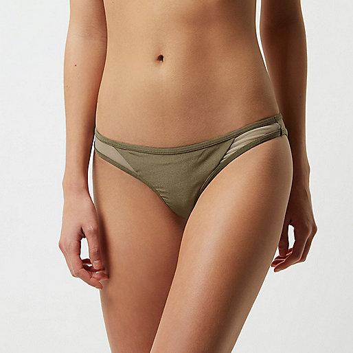 Khaki green mesh insert bikini bottoms