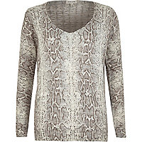 Grey snake lattice back V neck knit jumper