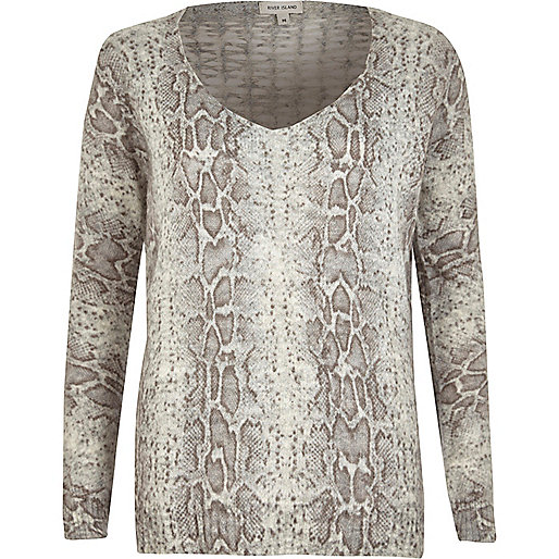 Grey snake lattice back V neck knit jumper