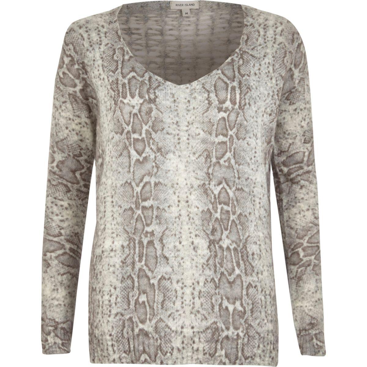Grey snake lattice back V neck knit sweater