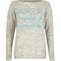 Grey word print jumper