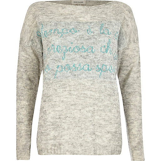Grey word print sweater