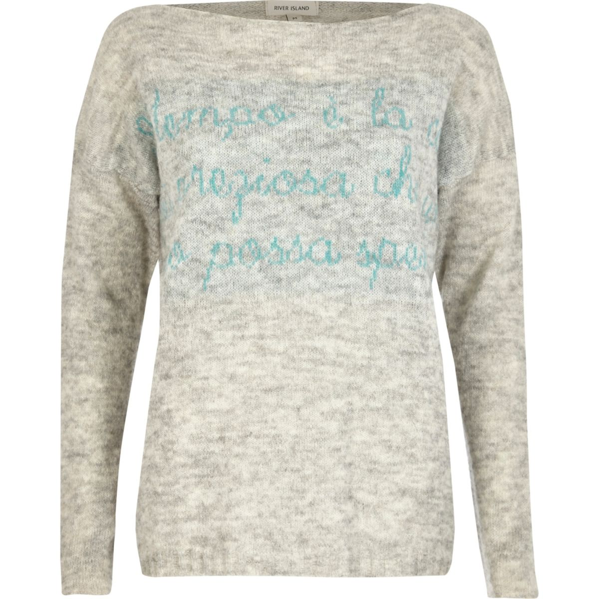 Grey word print jumper