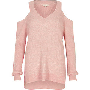 Pink cold shoulder V neck lurex sweater