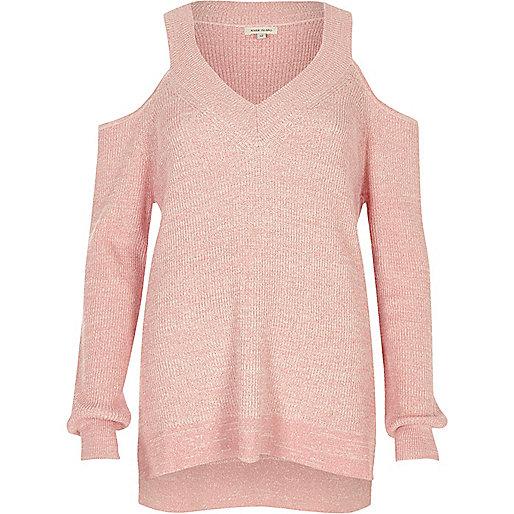 Pink cold shoulder V neck lurex sweater