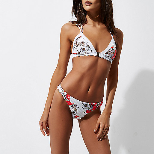Red floral print lace side bikini bottoms