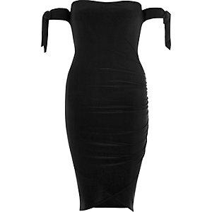 Robe bardot portefeuille noire avec manches à nouer
