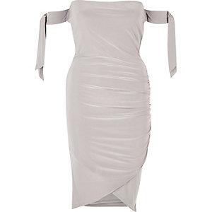 Metallic grey tied sleeve bardot wrap dress
