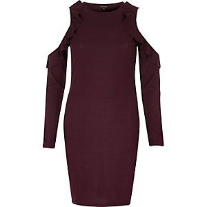Burgundy frill cold shoulder bodycon dress