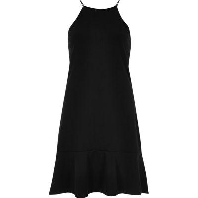 Zwarte cami-jurk met volant onderaan