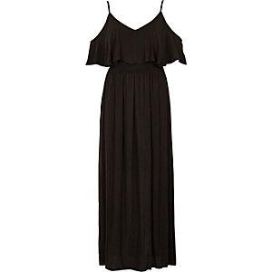 Robe longue noire à superposition