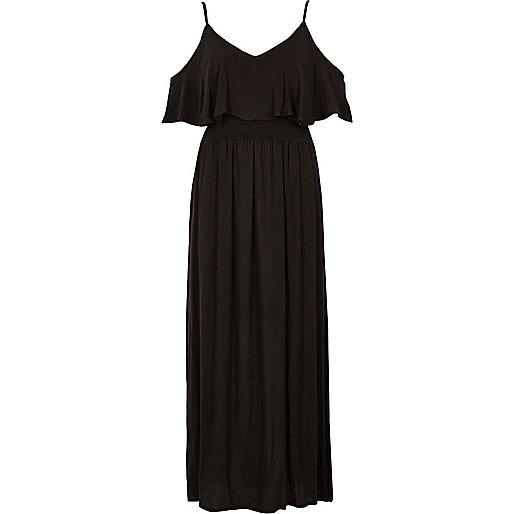 Zwarte gelaagde maxi-jurk