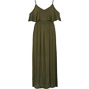 Robe longue vert kaki à superposition