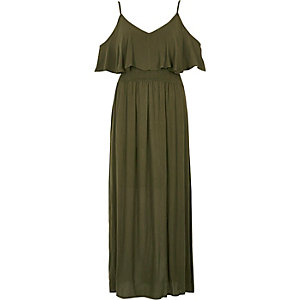 Khaki green double layer maxi dress