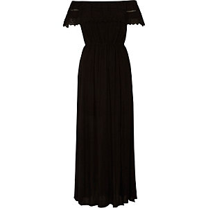 Black lace trim bardot maxi dress