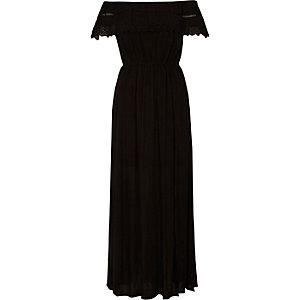 Bardot-Maxikleid mit schwarzem Spitzensaum